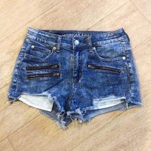 American Eagle High Rise Shortie Denim Shorts 4
